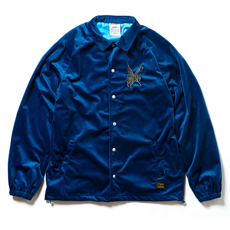 CROW VELVET OVERSIZED COACH JACKET BLUE