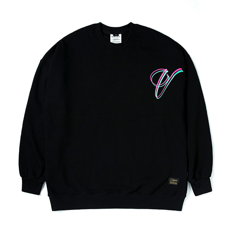 V OVERSIZED HEAVY SWEAT CREWNECK BLACK