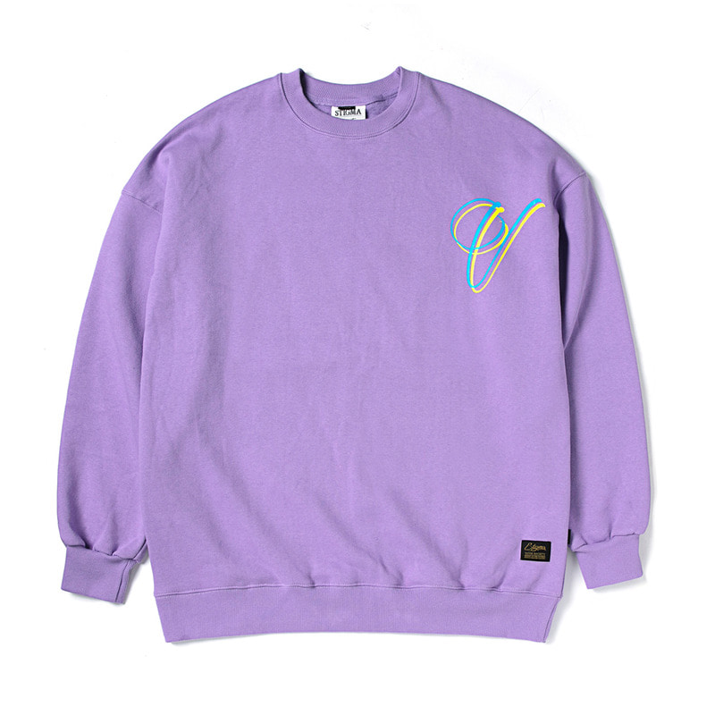 V OVERSIZED HEAVY SWEAT CREWNECK LIGHT PURPLE