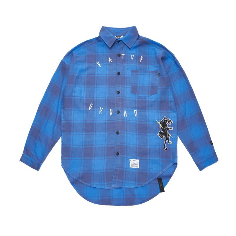 PANTHER OVERSIZED CHECK SHIRTS BLUE