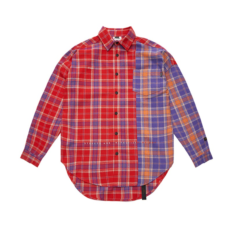 STREET HALF OVERSIZED CHECK SHIRTS RED