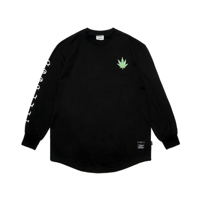 LEAF LAYERED LONG SLEEVES T-SHIRTS BLACK