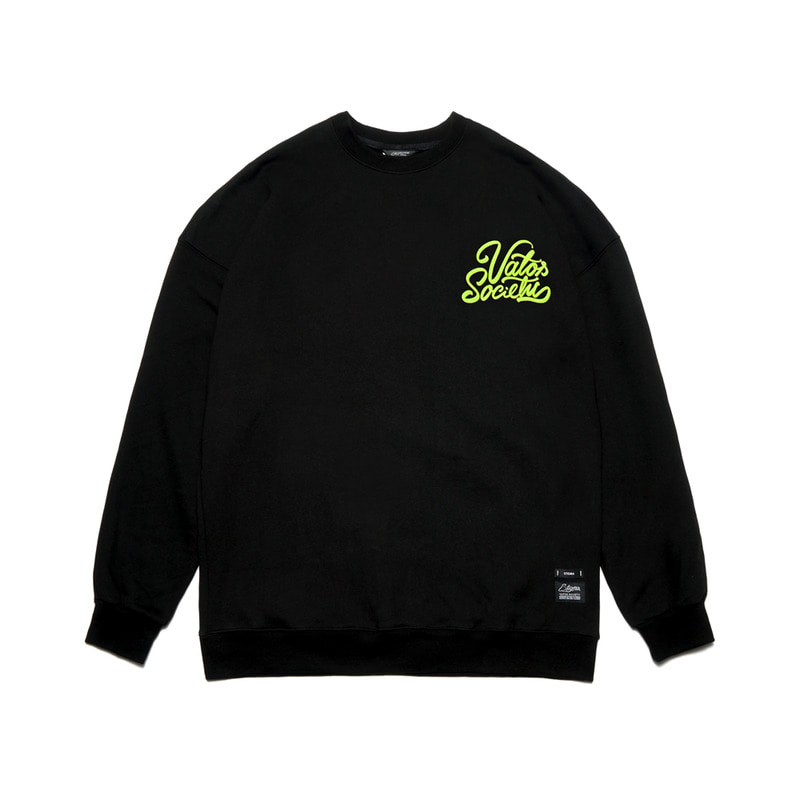 HANDWRITING OVERSIZED HEAVY SWEAT CREWNECK BLACK