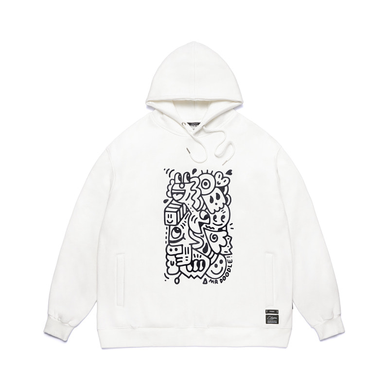 STIGMA X MR DOODLE OVERSIZED HEAVY SWEAT HOODIE WHITE