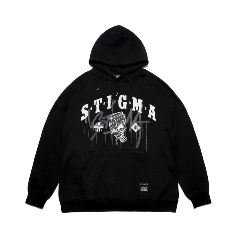 STIGMA X CANTWO OVERSIZED HEAVY SWEAT HOODIE BLACK