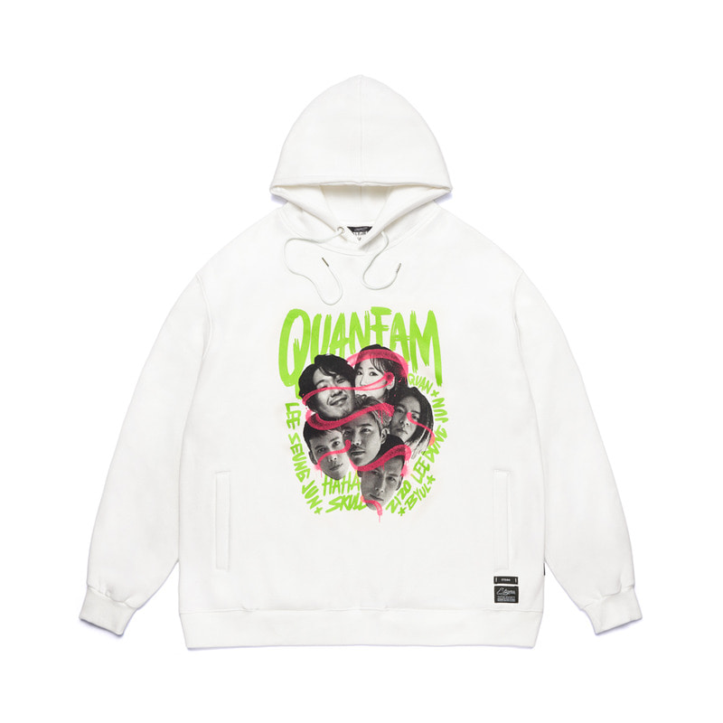 STIGMA X QUAN FAM OVERSIZED HEAVY SWEAT HOODIE WHITE