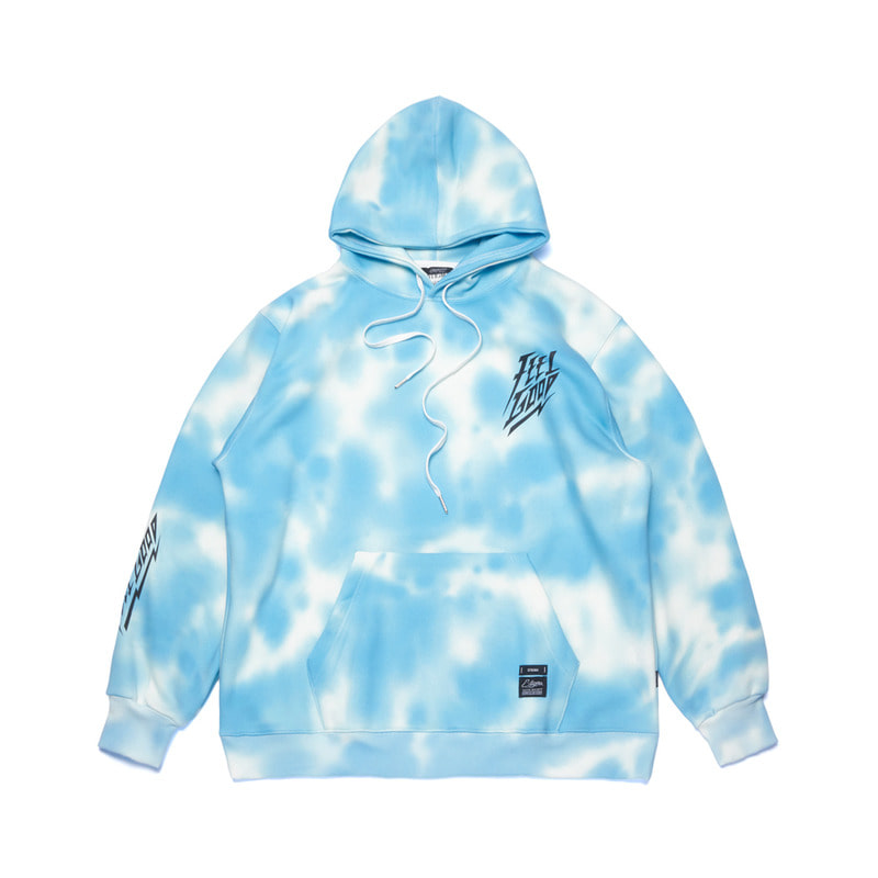 DOT TIE DYE OVERSIZED HEAVY SWEAT HOODIE SKY BLUE