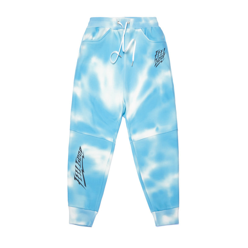 DOT TIE DYE HEAVY SWEAT JOGGER PANTS SKY BLUE