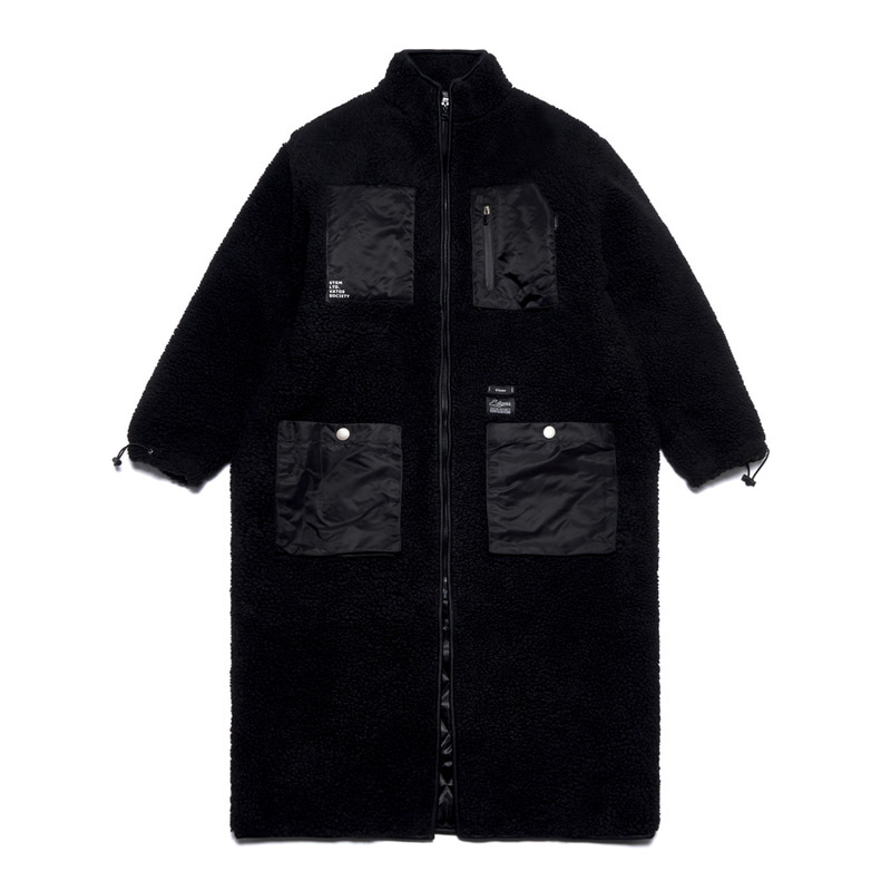 TRIANGLE OVERSIZED SHEARLING COAT BLACK