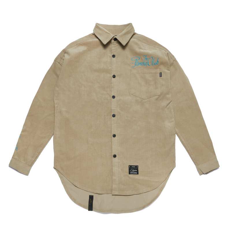 HANDWRITING OVERSIZED CORDUROY SHIRTS BEIGE