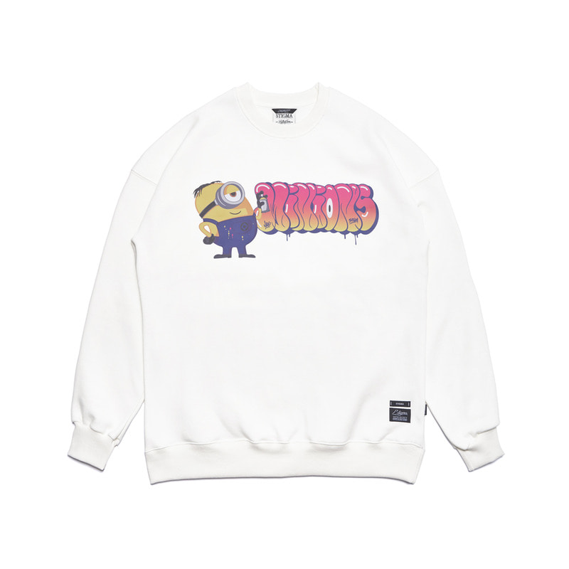 STIGMA X MINIONS OVERSIZED HEAVY SWEAT CREWNECK WHITE