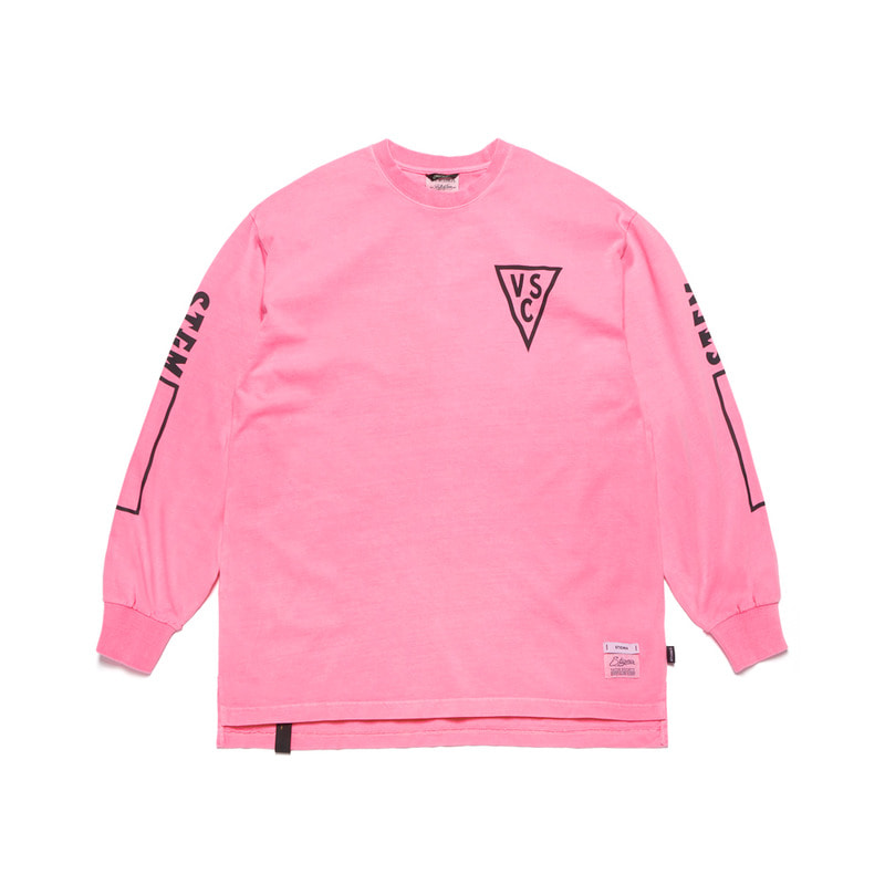 INFAMOUS PIGMENT OVERSIZED LONG SLEEVES T-SHIRTS NEON PINK