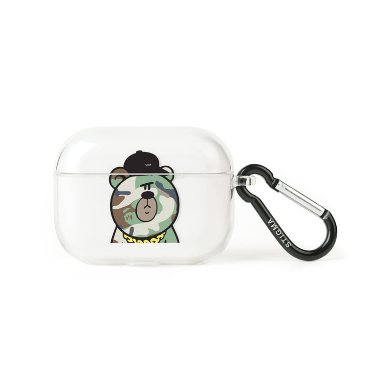 AirPods Pro CASE CAMOUFLAGE BEAR GREEN CLEAR